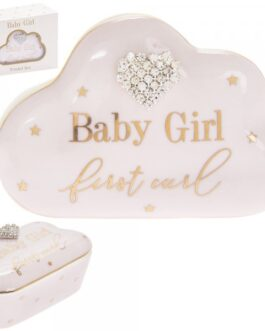 Baby Cloud Trinket Box With Diamante Heart-My First Curl-Pink