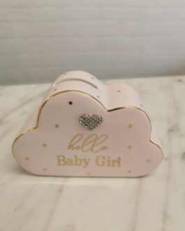 Baby Cloud Money Box With Diamante Heart-Pink