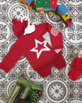 Red Star Knitted 3 Piece Short Set