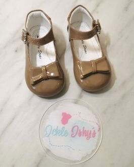 Girls Patent Beige Bow Shoes