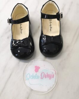 Girls Patent Black Bow Shoes