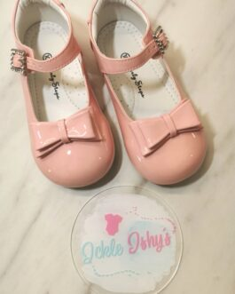 Girls Patent Pink Bow Shoes