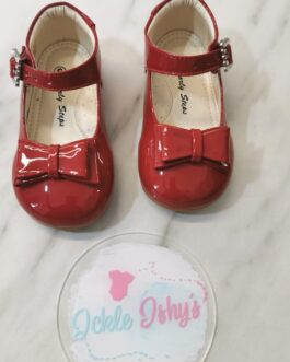 Girls Patent Red Bow Shoes