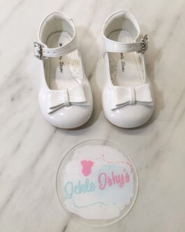 Girls Patent White Bow Shoes